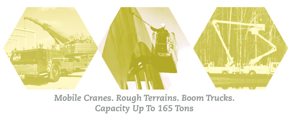 Mobile Cranes. Rough Terrains. Boom Trucks. Capacity Up To 165 Tons | Image montage
